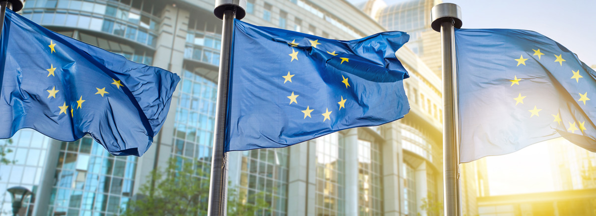 European Union Flags and backdrop of MiFID II regulation
