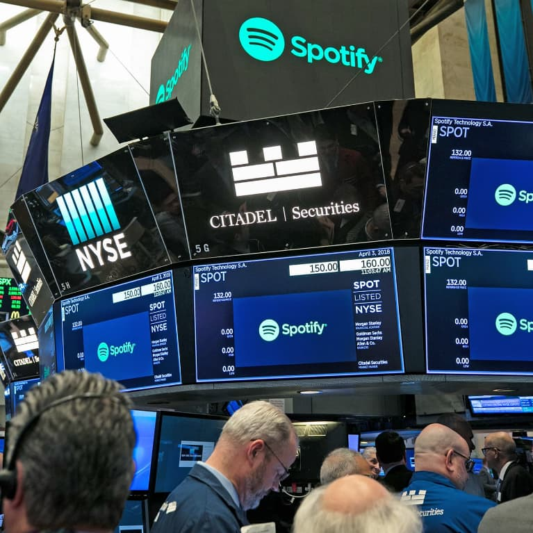 Spotify on the trading room floor